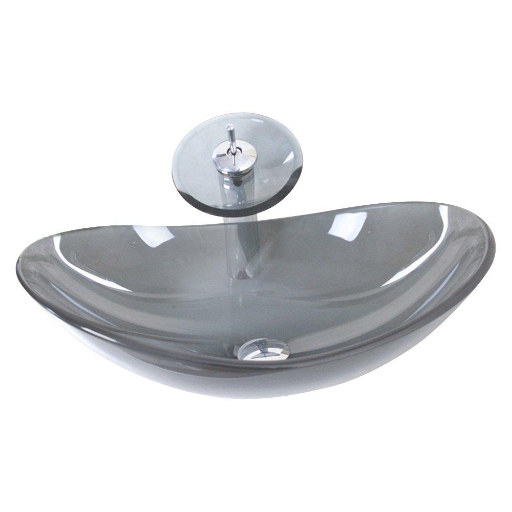 Homelavafans Modern Waschbecken Oval Grau Transparent Glas mit Wasserfall Armatur Set