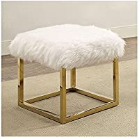 Goslett Reto Modern 21 inch Long Small Bench with Gold Legs in White Shag