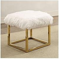 Goslett Reto Modern 21 inch Long Small Bench with Gold Legs in White Shag