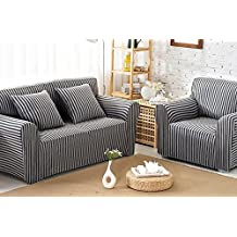 ChezMax Striped Pattern Soft Cotton Fabric Sofa Cover 1 Piece Thicken Strenched Love Seat Sofa Slipcovers Black Grey