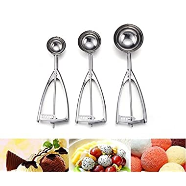 [Update Version]Ilyever 18/8 Stainless Steel Ice Cream Scoop,3 Piece Professional Cookie Dough Melon Scoop, Best Metal,Super Grip and Stylish Design - Rock Your Kitchen with Your New Super Scoop!