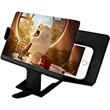 MADHOLLY Screen Magnifier 3D HD Non-radiation Eye-protection Lightweight and Portable with Foldable Hold Stand, Enlarge Screen View Enhance Video Quality for All Smart Phones(Black)