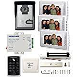 MENGQI-CONTROL 1- Camera 3-7 LCD Monitor Wired Video Intercom Doorbell Home Security Systems & Password Controller+600lbs Magnetic Lock+110V Power Supply+ Exit Button