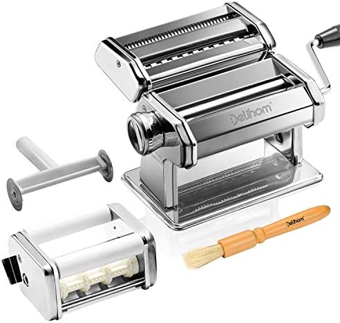 Delihom Pasta Maker - Stainless Steel Pasta Machine, Cutter, Ravioli Attachment and four Piece Pasta Roller Accessories for Homemade Spaghetti and Ravioli