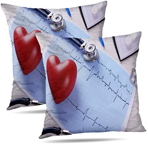 Tyfuty Set of 2 18 x 18 inch Throw Pillow Covers with Stethoscope and Red Heart Health Medical Care Chart Healthy Pillowcases Cushion Use for Living Room Bed Sofa