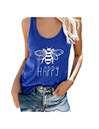 Women's Bee Happy Tank Top Casual Cute Graphic Sleeveless Scoop Neck Tunic Shirts Tops T Shirt Blouse Tee Plus Size