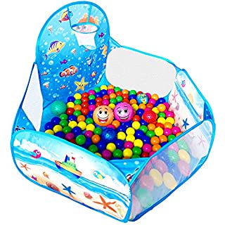 KingBee Ball Pit Pop Up Children Play Tent, Ocean Pool Baby Playpen with Basketball Hoop - Toys Gifts for Kids Girls Boys Toddlers 1 2 3 4 5 6 12 Months Year Old - Balls Not Included (Blue)