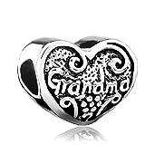 Silver Plated Pugster Heart Love Grandma Bead Fits Pandora Charms Bracelet