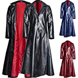Mens Retro Leather Vintage Long Coat Trench