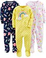 Simple Joys by Carter's Toddler Girls'  3-Pack Snug-Fit Footed Cotton Pajamas, Dinosaur, Space, Rainbow, 2T