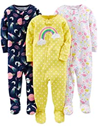 Baby and Toddler Girls' 3-Pack Snug Fit Footed Cotton...
