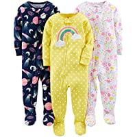 Simple Joys by Carter's Baby and Toddler Girls' 3-Pack Snug Fit Footed Cotton Pajamas