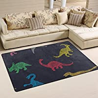 DEYYA Cartoon Colorful Different Dinosaur Tower Area Rug Rugs Non-Slip Floor Mat Doormats for Living Room Bedroom 31 x 20 inches