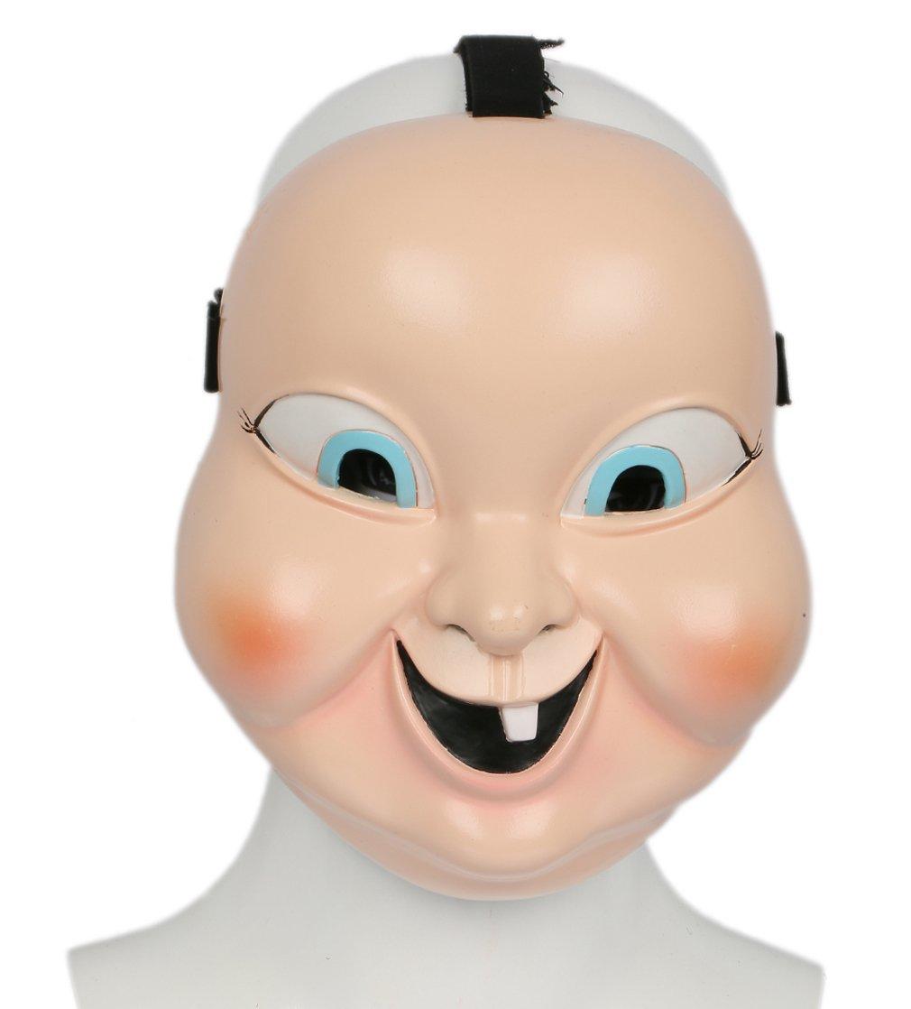 Halloween Maske Harz Beige Vollgesicht Gruselige Baby Puppe Doll Cosplay Kostüm Merchandise