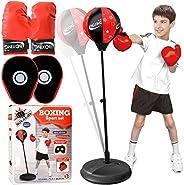 Punching Bag for Kids,Boxing Set Includes Kids Boxing Gloves and Punching Bag, Standing Base with Adjustable S