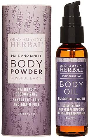 Natural Skin Care Gift Set, After Shower Body Oil, Natural Body Powder, Blissful Earth Aromatherapy, Essential Oils for Relaxation, Organic Gifts for Women, Talc-Free, Paraben-Free, Ora's Amazing