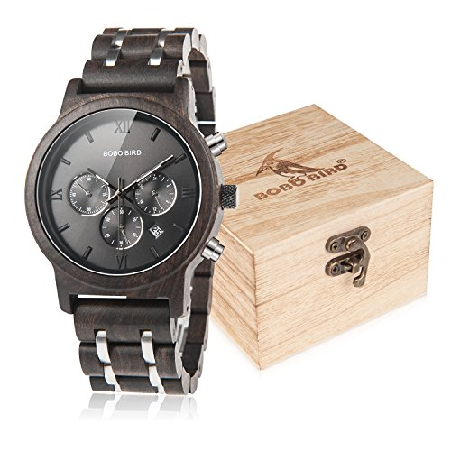 BOBO BIRD Mens Wooden Watches Luxury Wood Metal Strap Chronograph & Date Dispaly Quartz Watch Versatile Male Timepieces (Metal Black)