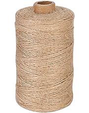 Sekey 200M natuurlijk jute touw decoratiekoord voor hang-etiketten, wenskaarten, cadeaus, doe-het-zelf knutselen, tuin 1mm jute touw