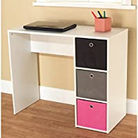 kissmoji Student Writing Desk with 3 Fabric Bins (Pink/Black/Gray)
