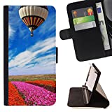 Graphic4You Hot Air Balloon Skyview Flight Thin Wallet Card Holder Leather Case Cover for HTC Desire 825