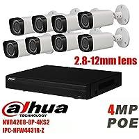 Dahua NVR NVR4208-8P-4K 8MP 8CH POE IP Camera Kit and DaHua IPC-HFW4431R-Z 4MP 2.7-12mm Motorized Len POE Security Surveillance System