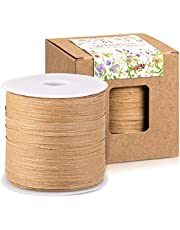 Whaline 229 Yards Easter Raffia Paper Ribbon Craft Packing Easter Paper Twine for Festival Gifts, Christmas, DIY Decoration and Weaving, 1/4 inch Width (Kraft)