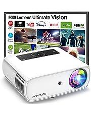 HOPVISION Native 1080P Proyector Full HD, 8500Lux Proyector de película con 150000 horas, compatible con 4K 300 pulgadas Proyector de exterior para Smartphone/PC/Laptop/PS4/TV Stick/EXCEL/PPT