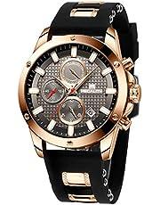 MEGALITH Relojes Hombre Relojes de Pulsera Cronógrafo Impermeable Negro Deportes Diseño Cara Grande Luminoso Reloj Azul Moda Fecha de Goma Analógica de Cuarzo