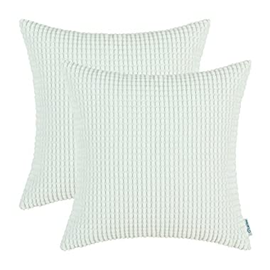 CaliTime Throw Pillow Covers 18 X 18 Inches, Comfortable Soft Corduroy Corn Striped, Ivory, Pack of 2