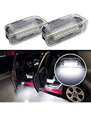 iJDMTOY (2) Full LED Side Door Courtesy Lamps Compatible With Volkswagen EOS Golf GTI Jetta Passat CC Tiguan Touareg etc, OEM Replacement, By 18-SMD Xenon White LED Lights & CAN-bus Error Free