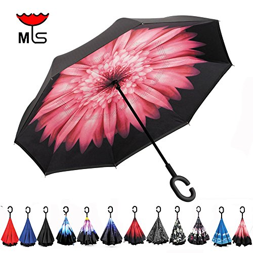 Double Layer Inverted Umbrella Windproof UV Protection Reverse folding Cars Reversible Umbrella Valentine's Day Promotion! by MY'S (Light pink)