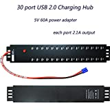 Sipolar 5V 2.1A 30 Port USB 2.0 HUB Syncing Charging for Laptop/Tablet/Pad 30 Port Charging Station with 300W (5V/60A) Power Supply
