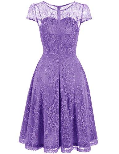 DRESSTELLS Women's Bridesmaid Dress Retro Lace Swing Party Dresses with Cap-Sleeves Purple S by DRESSTELLS (Image #2)