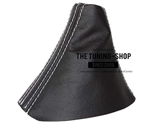 The Tuning-Shop Ltd For Audi A3 2013-2016 Automatic Shift Boot Black Leather White Stitching