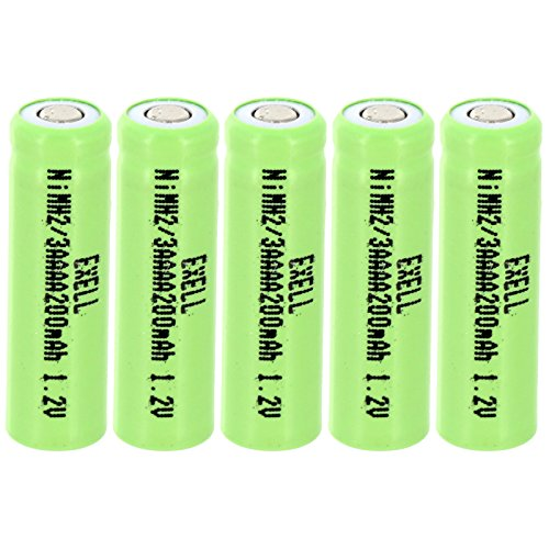 5x Exell 2/3AAAA NiMH 200mAh 1.2V Flat top Rechargeable Battery