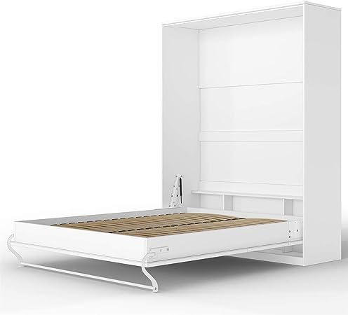 Smartbett Standard 160x200 Vertikal Weiss Komfort Lattenrost Schrankbett Ausklappbares Wandbett Ideal Geeignet Als Wandklappbett Fürs Gästezimmer