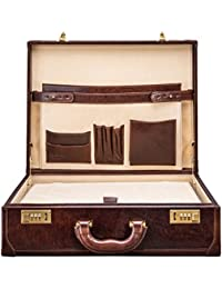 Maxwell Scott Men's Timeless Leather Attache Briefcase - Buroni