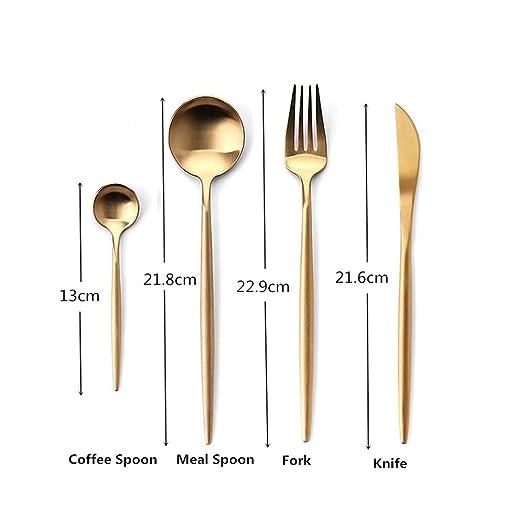 Rojeam Set de Cubiertos de Acero Inoxidable de 4 Piezas para Cocina Incluye Cuchara de Tenedor con Cuchillo(Dorado): Amazon.es: Hogar