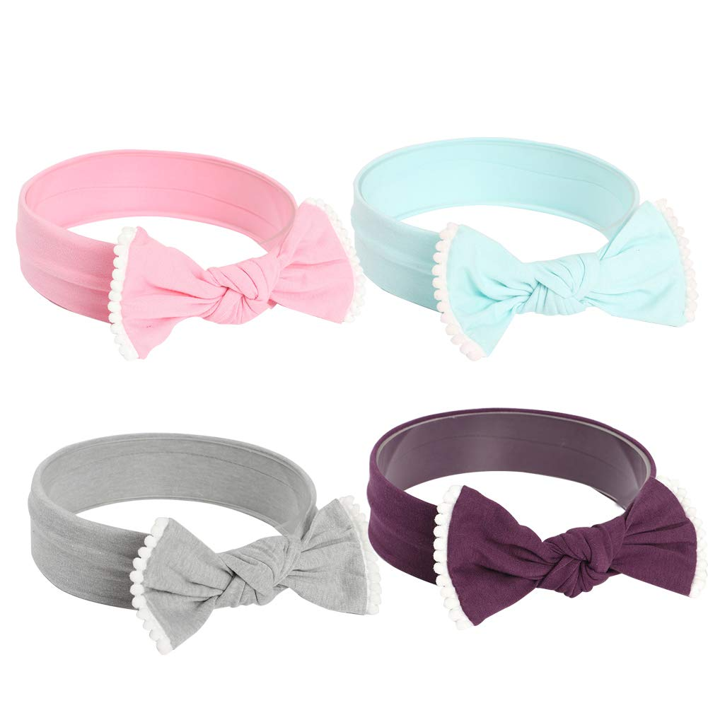 Baby Girls Elastic Headbands Bow Knotted Hair Band striped Headband for Toddler Childrens (4 Pack/multicolor B)