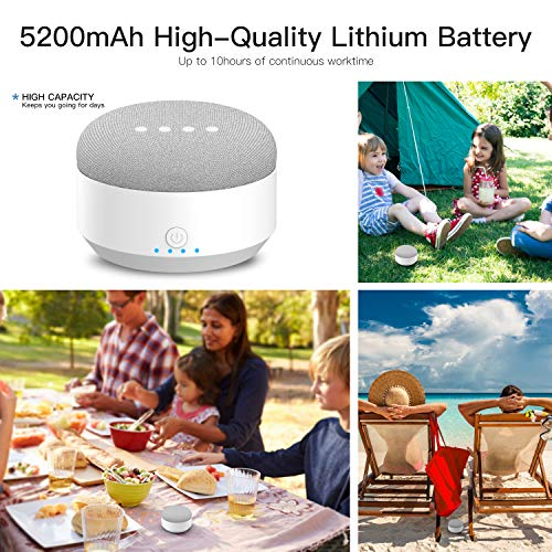 Updated Portable External Battery Base for Google Home Mini,5200mAh Rechargeable Power Bank,Magnetic Base&Anti-Slip Rubber Pads,Charger by Myriann(White) by MYRIANN (Image #5)