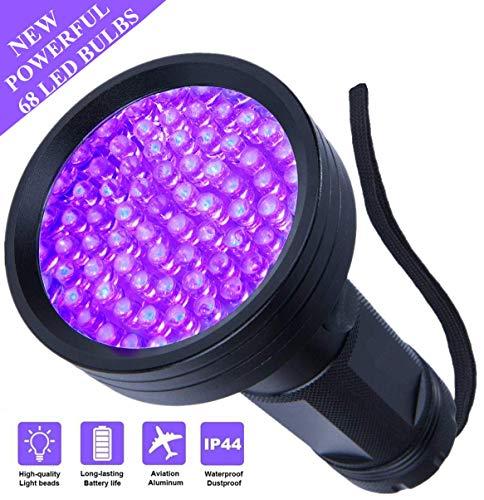 UV Flashlight Black Light UV Lights , 68 LED 395 NM Ultraviolet Blacklight Pet Urine Detector For Dog/Cat Urine, Dry Stains, Matching with Pet Odor Eliminator, for Home Hotel Camping Leaks Cosmetic ()
