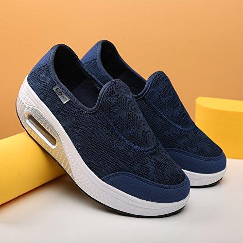 Fitness Shape Sneakers Blue Ups Mesh Casual Work Shoes On Women's Out Slip Walking XMeden Toning Dark Platform FR8Pqwnz
