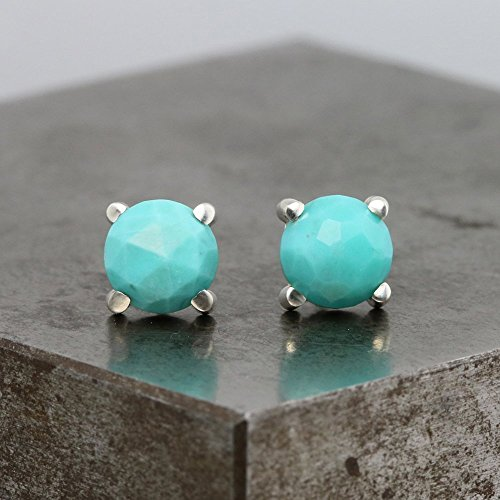 Sterling Silver Stud Earrings with Rose Cut Turquoise by Sarah Hood Jewelry