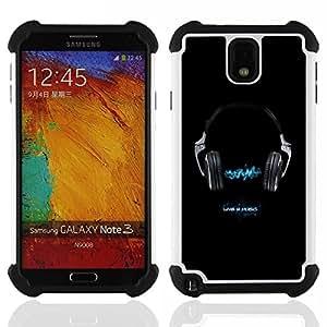 "Hypernova Híbrido Heavy Duty armadura cubierta silicona prueba golpes Funda caso resistente Para Samsung Galaxy Note 3 III N9000 N9002 N9005 [Vivo 4 Música""]"