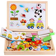 Wooden Magnetic Jigsaw Puzzles Toy, DIWENHOUSE Toddler Toys Educational Travel Puzzle Games Double Sided Drawing Easel for Boys and Girls (Happy Farm)