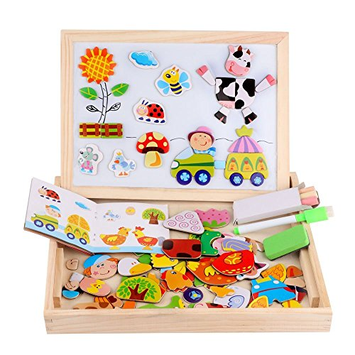 Wooden Magnetic Jigsaw Puzzles Toy, DIWENHOUSE Toddler Toys Educational Travel Puzzle Games Double Sided Drawing Easel for Boys and Girls (Happy (Reversible 2 Side Chalkboard)