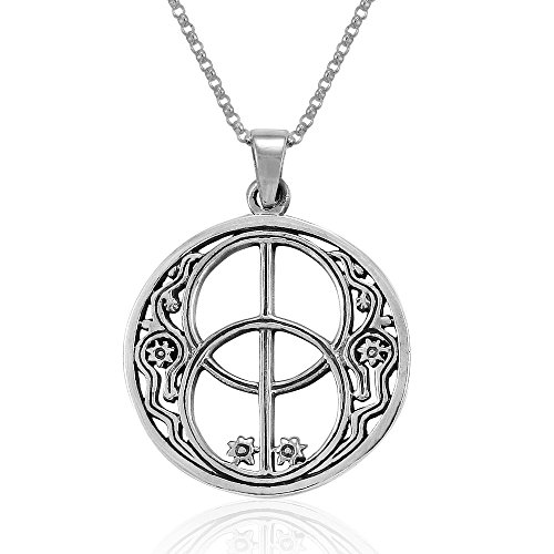 - MIMI Sterling Silver Sacred Chalice Well Symbol of Avalon in Glastonbury Pendant Necklace, 18 inches