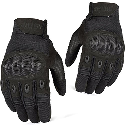 - JIUSY Touch Screen Tactical Military Hard Knuckle Full Finger Gloves for Army Airsoft Paintball Shooting Combat Hunting Hiking Riding Motorcycle Cycling Bicycle Work Gear Black Size X-Large