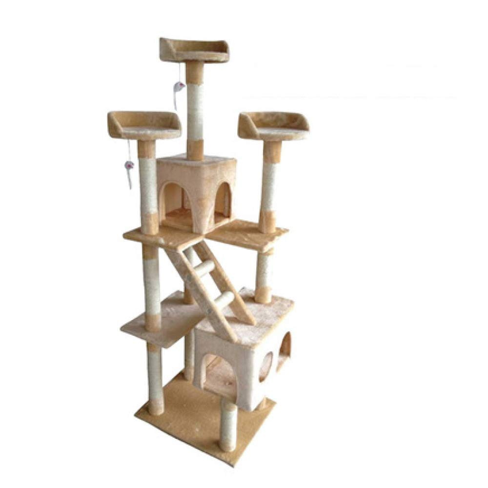 Beige ZHENGDY Luxury Cat Tree,Large Cat Toys Cat Climbing Frame Cat Play Tower Cat Activity Center,Beige