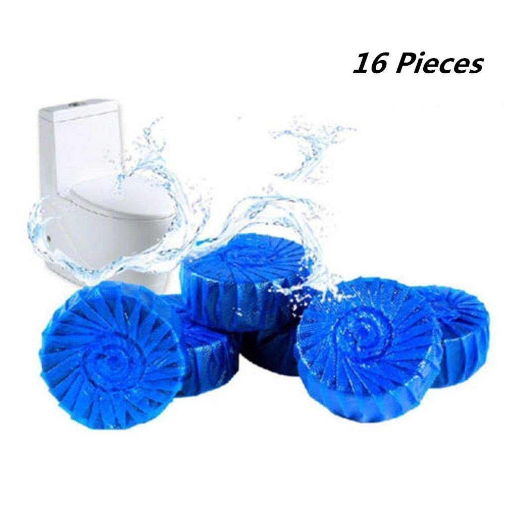 16 Pieces Antibacterial Blue Automatic Toilet Bowl Bathroom Cleaner Tablets, Drop in Tank by Pureblue